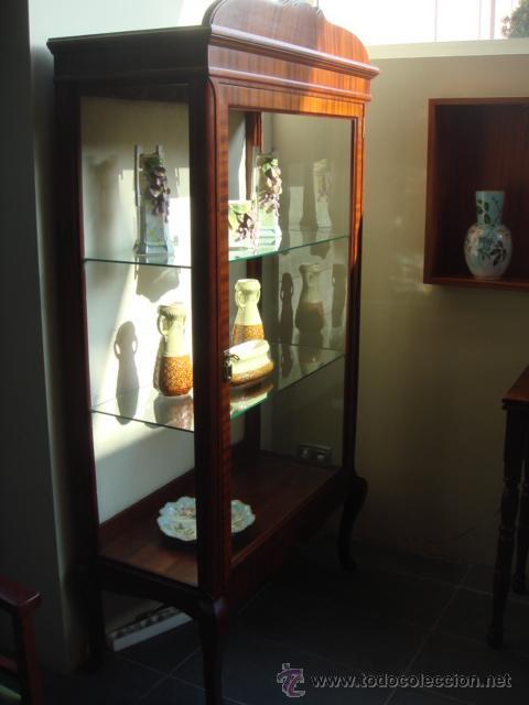 ANTIGUA VITRINA EN MADERA DE CAOBA - RESTAURADA (Antigüedades - Muebles Antiguos - Vitrinas Antiguos)