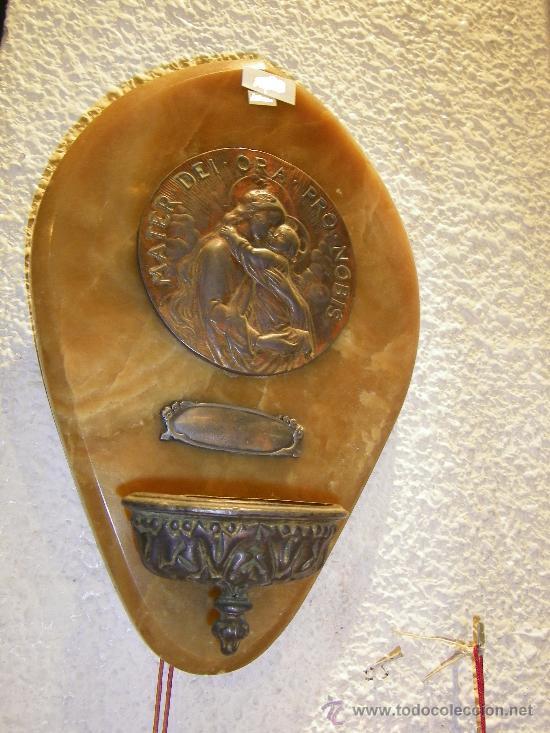BENDITERA MARMOL-METAL (Antigüedades - Religiosas - Benditeras)