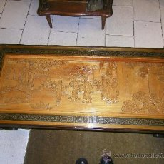 Antigüedades: MESITA BAJA DE ESTAR-TALLADA. Lote 24402820