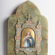 Antigüedades: BENDITERA EN ONIX, ESMALTE Y DECORACIÓN CON CLOISSONE, S.XIX. Lote 24415746