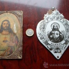 Antigüedades: 2 CHAPAS ANTIGUAS RELIGIOSAS,GRANDES,UNA ESMALTADA,VALENCIA. Lote 24431647