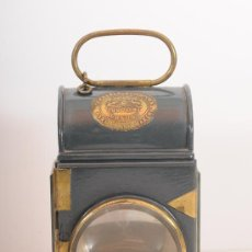 Antigüedades: FAROL INGLÉS DE TREN, MERRYWEATHER & SONS, FIRE ENGINE MAKERS LONGACRE LONDON, FINALES S.XIX. Lote 47143652