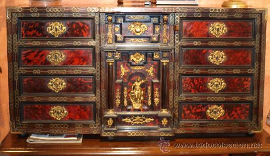 BARGUEÑO PAPELERA HISPANO-FLAMENCA, ÉPOCA CARLOS II FFS S XVII. (Antigüedades - Muebles Antiguos - Bargueños Antiguos)