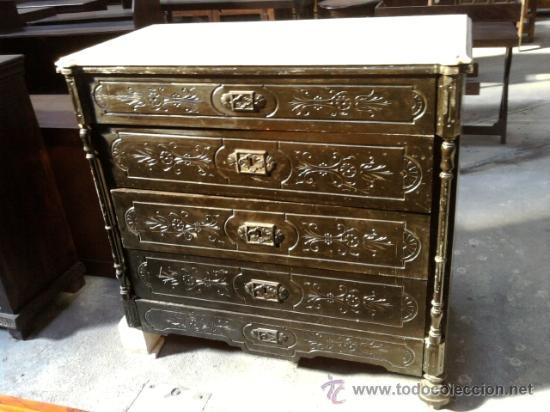 Comoda antigua de color negra con marmol para r comprar for Antiguedades para restaurar