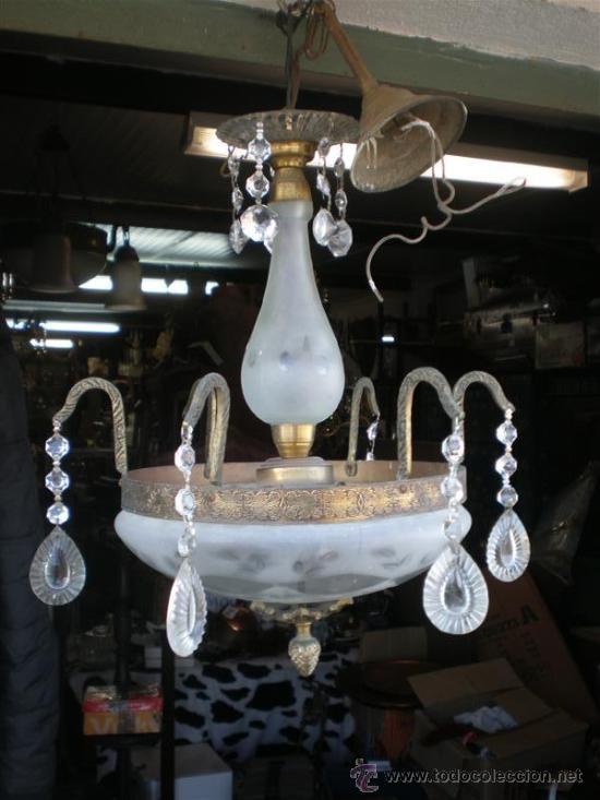 LAMPARA DE BRONCE Y CRISTALES (Antigüedades - Iluminación - Lámparas Antiguas)