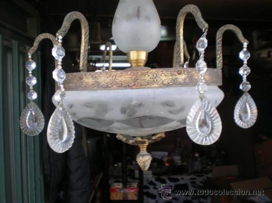 Antigüedades: lampara de bronce y cristales - Foto 2 - 24541918