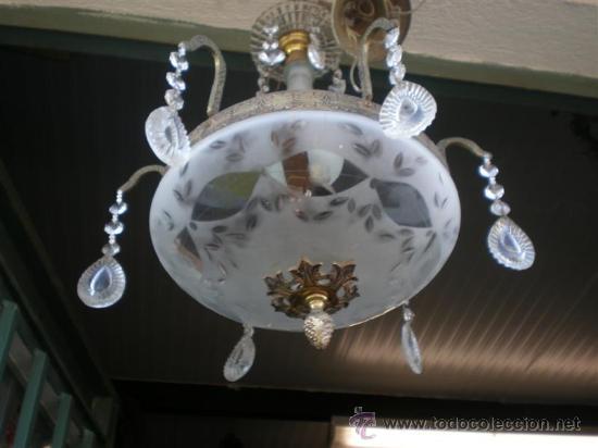 Antigüedades: lampara de bronce y cristales - Foto 3 - 24541918