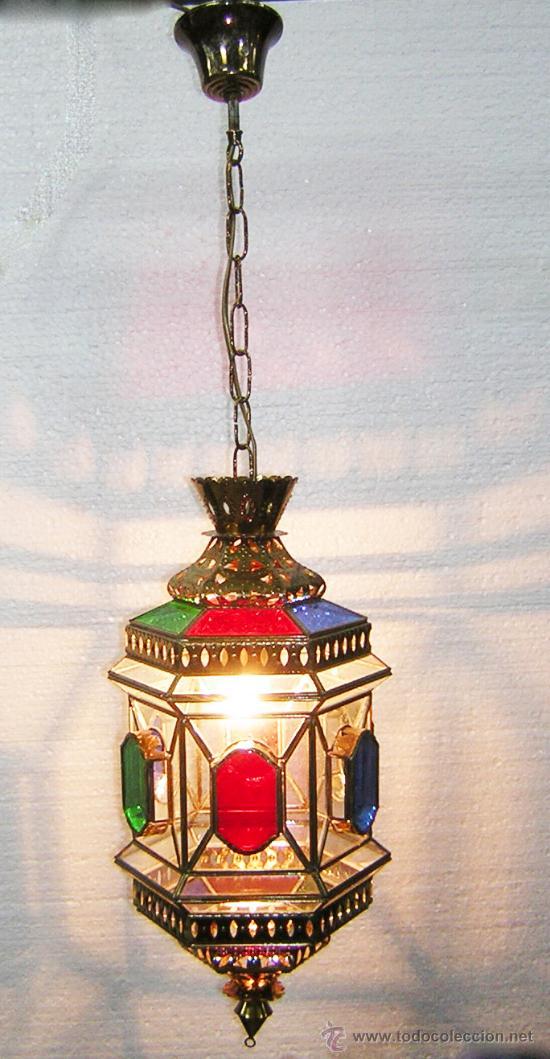 lampara hispano arabe granadina cristales colores antigedades iluminacin lmparas antiguas