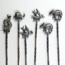 Antigüedades: 6 PINCHOS DE PLATA DE 10 CM DE LARGO, CON ANIMALES, .. Lote 24583877