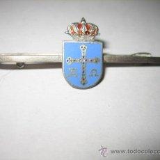 Antigüedades: SUJETACORBATAS DE PLATA ESCUDO DE OVIEDO .ESMALTADO. Lote 24638183