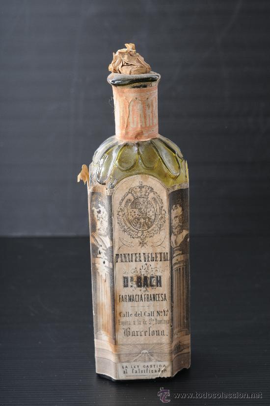 BOTELLA DE VIDRIO DE FARMACIA PANACEA VEGETAL DEL DR.BACH, BARCELONA S.XIX (Antigüedades - Cristal y Vidrio - Farmacia )
