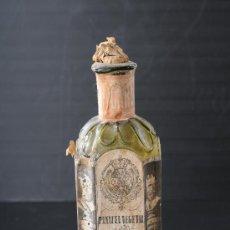 Antigüedades: BOTELLA DE VIDRIO DE FARMACIA PANACEA VEGETAL DEL DR.BACH, BARCELONA S.XIX. Lote 24913074