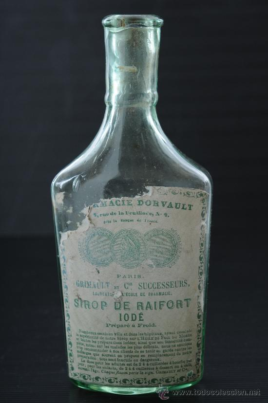BOTELLA DE VIDRIO DE FARMACIA (Antigüedades - Cristal y Vidrio - Farmacia )