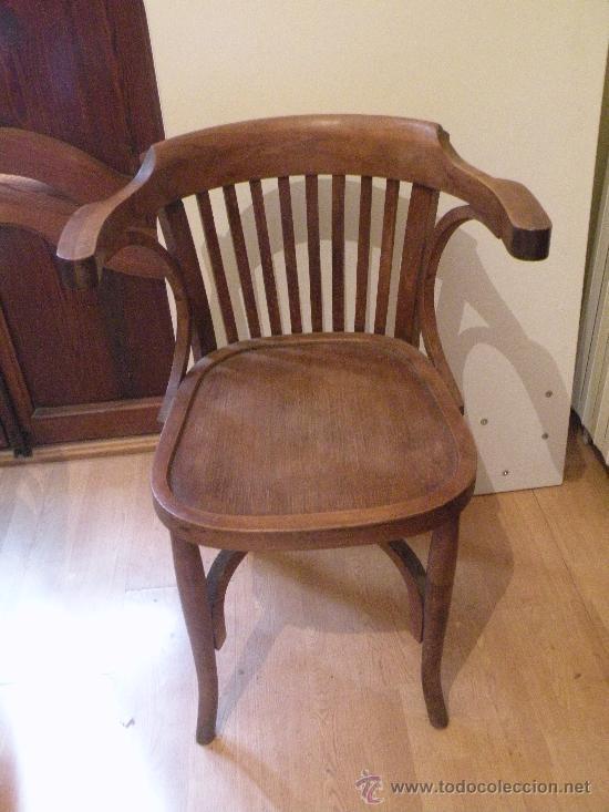 Lote de 4 sillas de madera con brazos a os 50 comprar - Sillas antiguas de madera ...