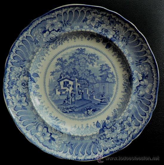 Plato grande ingles estampado en color azul epo comprar for Porcelana en ingles