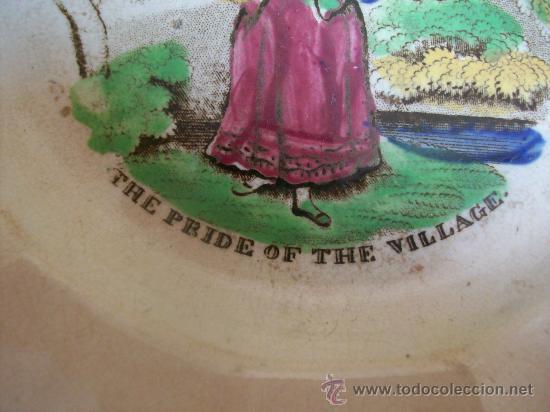 Antigüedades: PLATO ESPECIAL. UNA JOYA. THE PRIDE OF THE VILLAGE. EL ORGULLO DEL PUEBLO. LONGTON. 1825 A 1835 - Foto 4 - 27612179