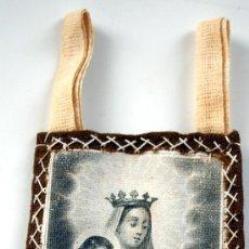 Antigüedades: ESCAPULARIO - GRABADO SOBRE TELA - VIRGEN DEL CARMEN - S. XIX - Nº 15. Lote 26534571
