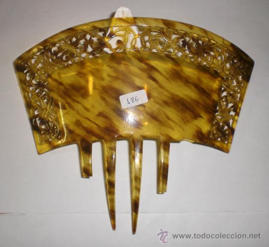 PEINETA ANTIGUA. PRINCIPIOS DEL S.XX. CALADA EN SIMIL DE CAREY. (Antigüedades - Moda - Peinetas Antiguas)