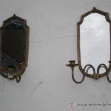 Antigüedades: ESPEJO DE BRONCE CON VELONES. Lote 24833077