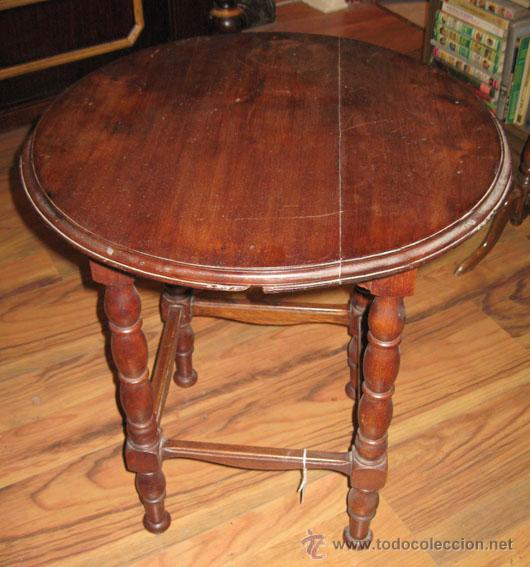 Antigua mesa auxiliar redonda caoba comprar mesas - Mesas auxiliares antiguas ...