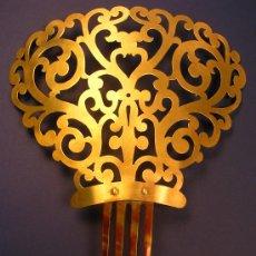 Antigüedades: GRAN PEINETA ANTIGUA DE METAL Y CAREY. Lote 24951677