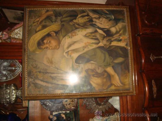 Antigüedades: antigua y preciosa lamina artistica chico de caceria, precioso marco y cristal, ver fotos69 x 58 cm - Foto 4 - 24945253