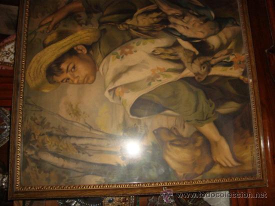 Antigüedades: antigua y preciosa lamina artistica chico de caceria, precioso marco y cristal, ver fotos69 x 58 cm - Foto 3 - 24945253