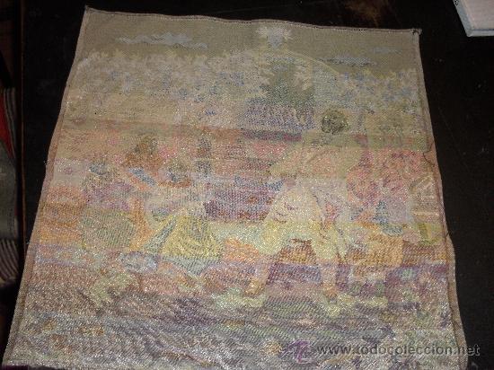 Antigüedades: ANTIGUO TAPIZ 49 X49 CM . ESCENA COSTUMBRISTA. JUEGOS INFANTILES. - Foto 2 - 26471886