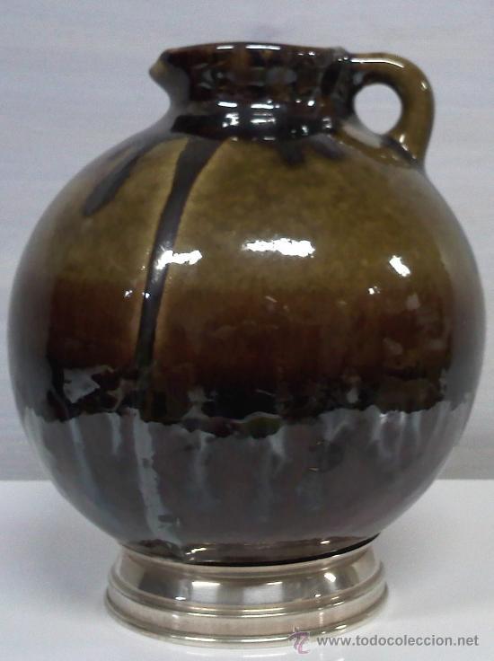 CERÁMICA CON BASE DE PLATA CON CONTRASTES (Antigüedades - Porcelanas y Cerámicas - Otras)