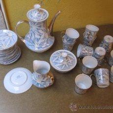 Antigüedades: JUEGO DE CAFE DE 12 SERVICIOS, COMPLETO - SANTA CLARA VIGO APROX 1970 BRILLO Y FILETES + INFO. Lote 232355080