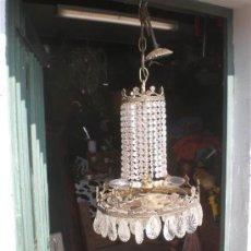 Antigüedades: LAMPARA DE BRONCE Y CRISTALES. Lote 25127820