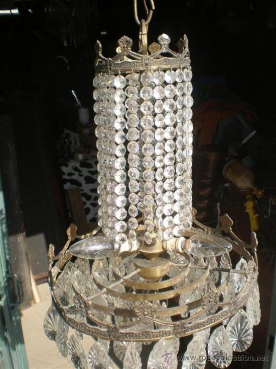 Antigüedades: lampara de bronce y cristales - Foto 2 - 25127820
