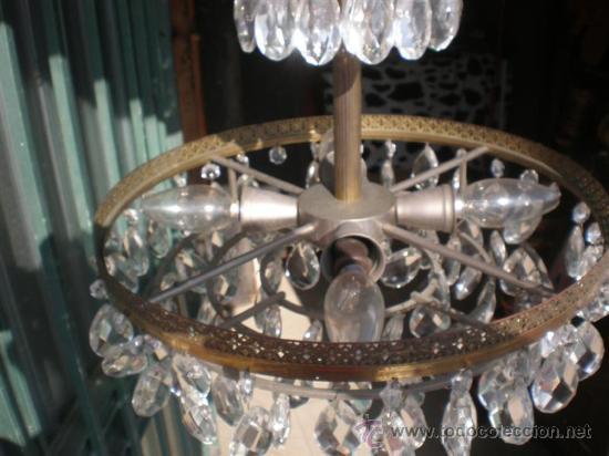 Antigüedades: lampara de bronce y cristales - Foto 3 - 25127820
