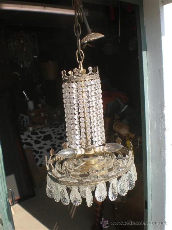 Antigüedades: lampara de bronce y cristales - Foto 4 - 25127820