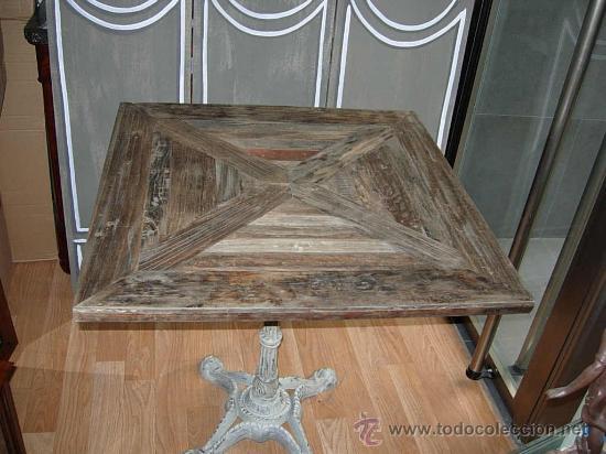 Antigüedades: MESA O VELADOR DE MADERA CON PATA DE HIERRO TIPO BAR - Foto 2 - 26627424