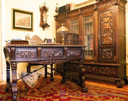 Despacho antiguo tallado 4 muebles de roble comprar - Muebles escritorios clasicos ...