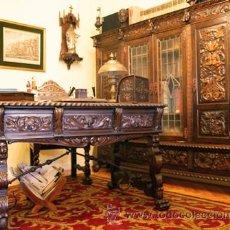 Antigüedades: DESPACHO ANTIGUO TALLADO. 4 MUEBLES DE ROBLE. Lote 25262309