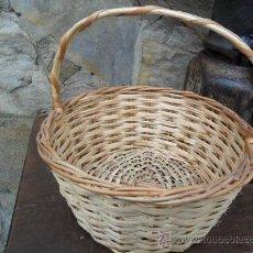 Antigüedades: CESTA DE MIMBRE CON ASA - ANTIGUA. Lote 25322856
