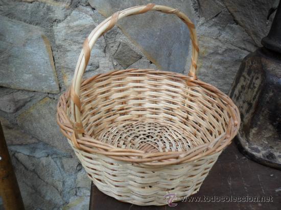 Antigüedades: CESTA DE MIMBRE CON ASA - ANTIGUA - Foto 2 - 25322856