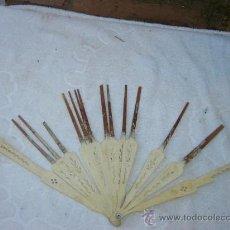 Antigüedades: VARILLAJE DE ABANICO EN MARFIL. Lote 25367914