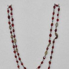 Antigüedades: ROSARIO EN CUENTAS DE CRISTAL Y PLATA. AÑOS 20.. Lote 25403800