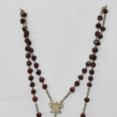 Antigüedades: ROSARIO EN CUENTAS DE CRISTAL Y PLATA. AÑOS 20.. Lote 25403869