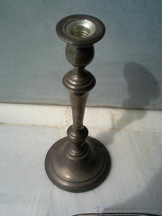 Antigüedades: Bonita pareja de candelabros de plata convertibles en candeleros,3 kilos con contrapeso,con marca. - Foto 4 - 26897751