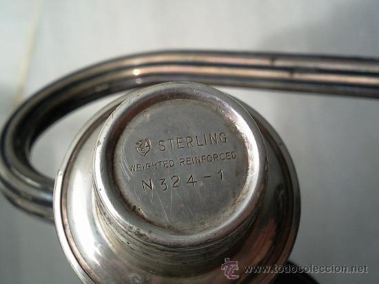 Antigüedades: Bonita pareja de candelabros de plata convertibles en candeleros,3 kilos con contrapeso,con marca. - Foto 9 - 26897751