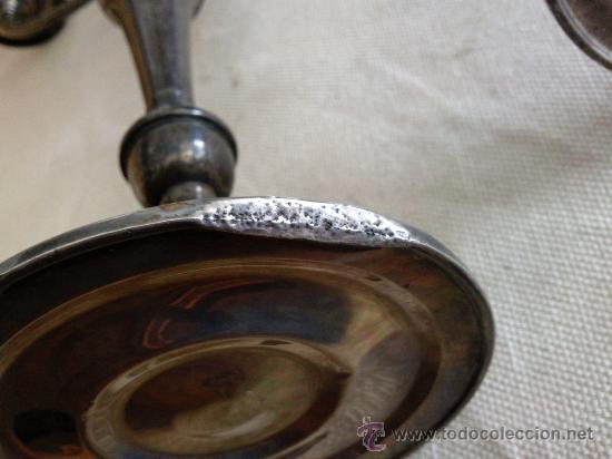 Antigüedades: Bonita pareja de candelabros de plata convertibles en candeleros,3 kilos con contrapeso,con marca. - Foto 10 - 26897751
