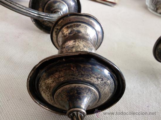 Antigüedades: Bonita pareja de candelabros de plata convertibles en candeleros,3 kilos con contrapeso,con marca. - Foto 12 - 26897751