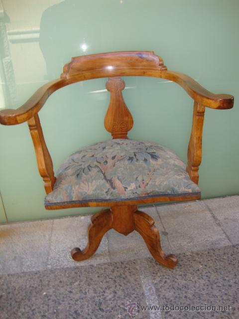 EXCELENTE SILLO GIRATORIO MADERA DE CEREZO Y FILETEADO MARQUETERIA (Antigüedades - Muebles Antiguos - Sillas Antiguas)