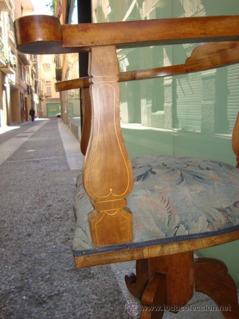 Antigüedades: EXCELENTE SILLO GIRATORIO MADERA DE CEREZO Y FILETEADO MARQUETERIA - Foto 14 - 25580210
