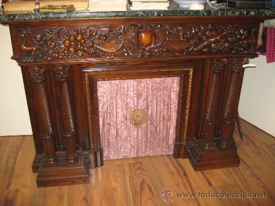 Impresionante chimenea en madera tallada y repi comprar - Repisas de marmol ...