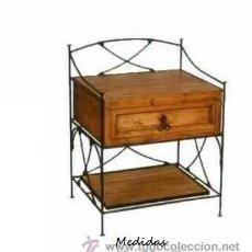 Antigüedades: MESILLA DE MADERA Y HIERRO. Lote 27216695